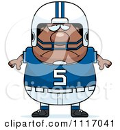 Vector Cartoon Of A Depressed Chubby Black Football Player Royalty Free Clipart Graphic