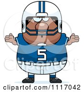 Vector Cartoon Of A Careless Shrugging Chubby Black Football Player Royalty Free Clipart Graphic