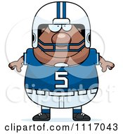 Vector Cartoon Of A Happy Chubby Black Football Player Royalty Free Clipart Graphic