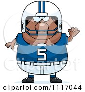 Vector Cartoon Of A Waving Chubby Black Football Player Royalty Free Clipart Graphic