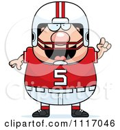Vector Cartoon Of A Chubby White Football Player With An Idea Royalty Free Clipart Graphic