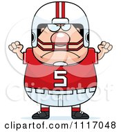 Vector Cartoon Of A Angry Chubby White Football Player Royalty Free Clipart Graphic