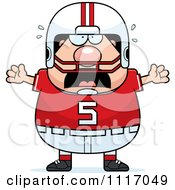 Vector Cartoon Of A Stressed Chubby White Football Player Royalty Free Clipart Graphic