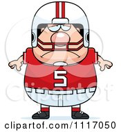 Vector Cartoon Of A Depressed Chubby White Football Player Royalty Free Clipart Graphic