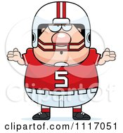 Vector Cartoon Of A Careless Shrugging Chubby White Football Player Royalty Free Clipart Graphic