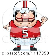 Vector Cartoon Of A Waving Chubby White Football Player Royalty Free Clipart Graphic by Cory Thoman