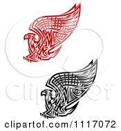 Vector Clipart Red And Black Tribal Griffins Or Eagles Royalty Free Graphic Illustration