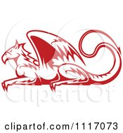 Vector Clipart Red Resting Griffin Royalty Free Graphic Illustration by Vector Tradition SM