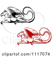 Vector Clipart Black And Red Resting Griffins Royalty Free Graphic Illustration