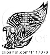 Vector Clipart Black And White Tribal Griffin Or Eagle Royalty Free Graphic Illustration