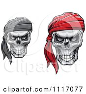 Vector Clipart Evil Skulls With Bandanas Royalty Free Graphic Illustration