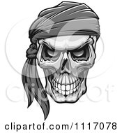 Vector Clipart Grayscale Evil Skull With A Bandana Royalty Free Graphic Illustration