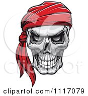 Vector Clipart Evil Skull With A Red Bandana Royalty Free Graphic Illustration