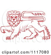 Vector Clipart Red Walking Heraldic Lion Royalty Free Graphic Illustration