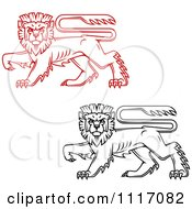 Vector Clipart Red And Black Walking Heraldic Lions Royalty Free Graphic Illustration