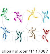 Vector Clipart Joyous Colorful People Dancing And Leaping Royalty Free Graphic Illustration