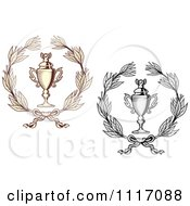 Vector Clipart Sepia And Grayscale Wreaths And Trophy Cups Royalty Free Graphic Illustration