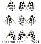Vector Clipart Crossed Checkered Racing Flags 2 Royalty Free Graphic Illustration