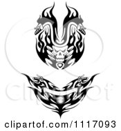 Vector Clipart Black And White Flaming Skull And Flame Motorcycle Biker Handlebars Royalty Free Graphic Illustration