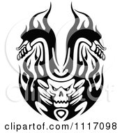 Vector Clipart Black And White Flaming Skull Motorcycle Biker Handlebars 2 Royalty Free Graphic Illustration