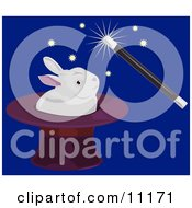 A Magician Using A Magic Wand To Make A White Rabbit Appear In A Hat Clipart Illustration by AtStockIllustration
