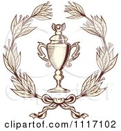 Vector Clipart Sepia Wreath And Trophy Cup Royalty Free Graphic Illustration by Vector Tradition SM