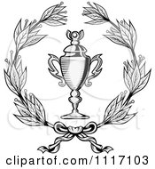 Vector Clipart Grayscale Wreath And Trophy Cup Royalty Free Graphic Illustration by Vector Tradition SM
