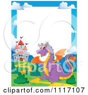 Vector Cartoon Fairy Tale Purple Dragon And Castle Frame Royalty Free Clipart Graphic