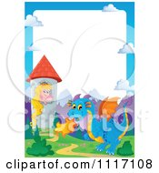 Vector Cartoon Fairy Tale Princess Blue Dragon And Castle Frame Royalty Free Clipart Graphic