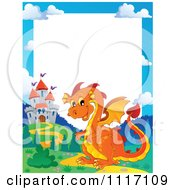 Vector Cartoon Fairy Tale Orange Dragon And Castle Frame Royalty Free Clipart Graphic