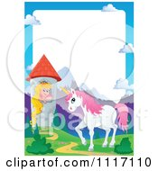 Vector Cartoon Unicorn And Princess In A Tower Frame Royalty Free Clipart Graphic