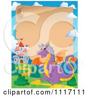 Vector Cartoon Fairy Tale Purple Dragon And Parchment Castle Frame Royalty Free Clipart Graphic