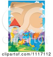 Vector Cartoon Fairy Tale Princess Blue Dragon And Parchment Castle Frame Royalty Free Clipart Graphic