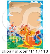 Vector Cartoon Fairy Tale Orange Dragon And Parchment Castle Frame Royalty Free Clipart Graphic