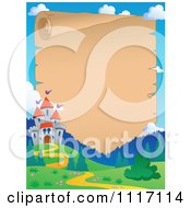 Vector Cartoon Mountainous Castle And Path Parchment Frame Royalty Free Clipart Graphic