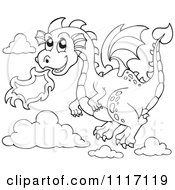 Vector Cartoon Of An Outlined Flying Fire Breathing Dragon Royalty Free Clipart Graphic