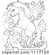 Vector Cartoon Of An Outlined Winged Pegasus Horse Flying Royalty Free Clipart Graphic