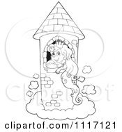 Vector Cartoon Of An Outlined Princess In A Floating Tower Royalty Free Clipart Graphic