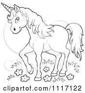 Vector Cartoon Of An Outlined Unicorn In Wild Flowers And Grass Royalty Free Clipart Graphic