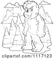 Vector Cartoon Of An Outlined Yeti With Mountains Royalty Free Clipart Graphic by visekart