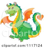 Vector Cartoon Of A Green Flying Dragon Royalty Free Clipart Graphic