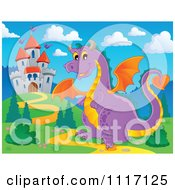 Vector Cartoon Of A Purple Castle Guardian Dragon Royalty Free Clipart Graphic