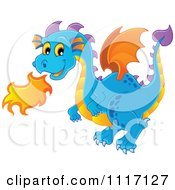 Vector Cartoon Of A Blue Fire Breathing Dragon Royalty Free Clipart Graphic