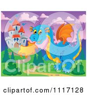Vector Cartoon Of A Blue Castle Guardian Dragon Royalty Free Clipart Graphic