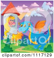 Vector Cartoon Of A Blue Guardian Dragon With A Princess In A Tower Royalty Free Clipart Graphic
