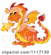 Vector Cartoon Of A Orange Fire Breathing Dragon Royalty Free Clipart Graphic by visekart