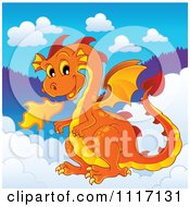 Vector Cartoon Of A Orange Fire Breathing Dragon In The Clouds Royalty Free Clipart Graphic