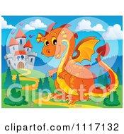 Vector Cartoon Of A Orange Castle Guardian Dragon Royalty Free Clipart Graphic