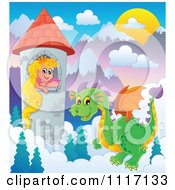 Vector Cartoon Of A Green Guardian Dragon With A Princess In A Tower Royalty Free Clipart Graphic