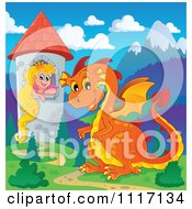 Vector Cartoon Of A Orange Guardian Dragon With A Princess In A Tower Royalty Free Clipart Graphic by visekart